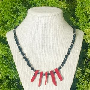 Red Coral & Black Onyx Necklace